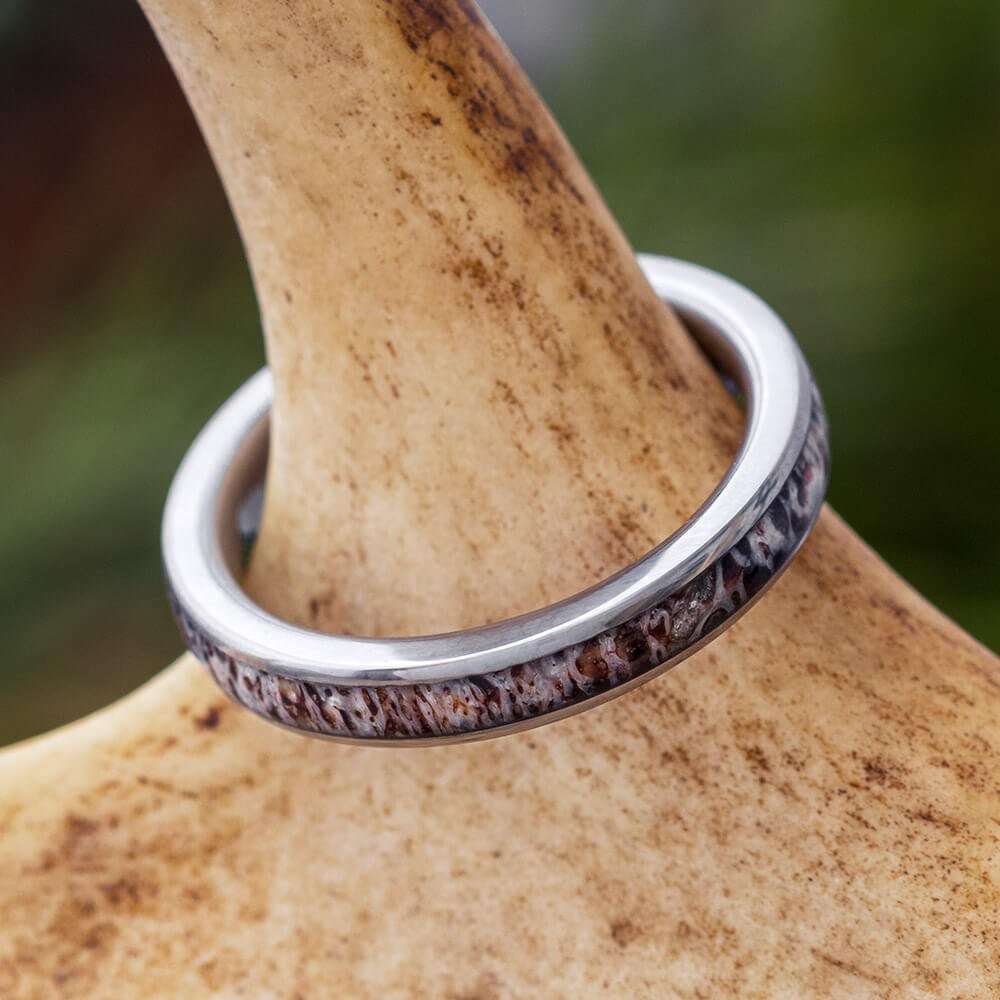 Women's Deer Antler Wedding Band, 3mm Ring Crafted in Titanium, Custom