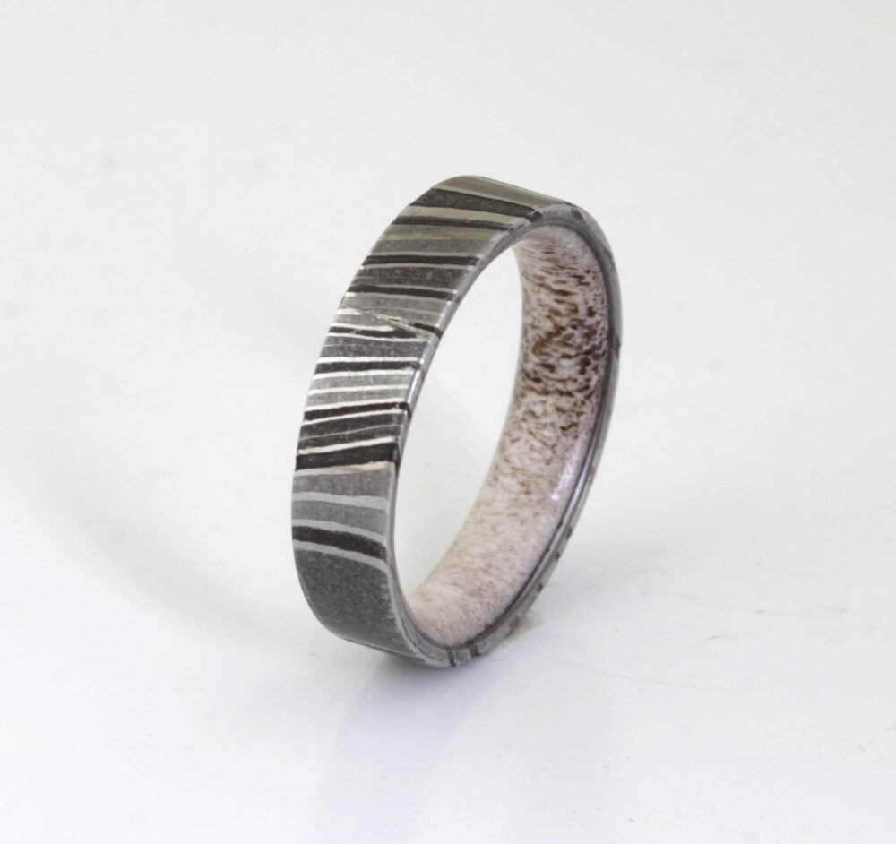 Damascus Steel Ring Antler Wedding Band Mens Antler Flat Man Woman