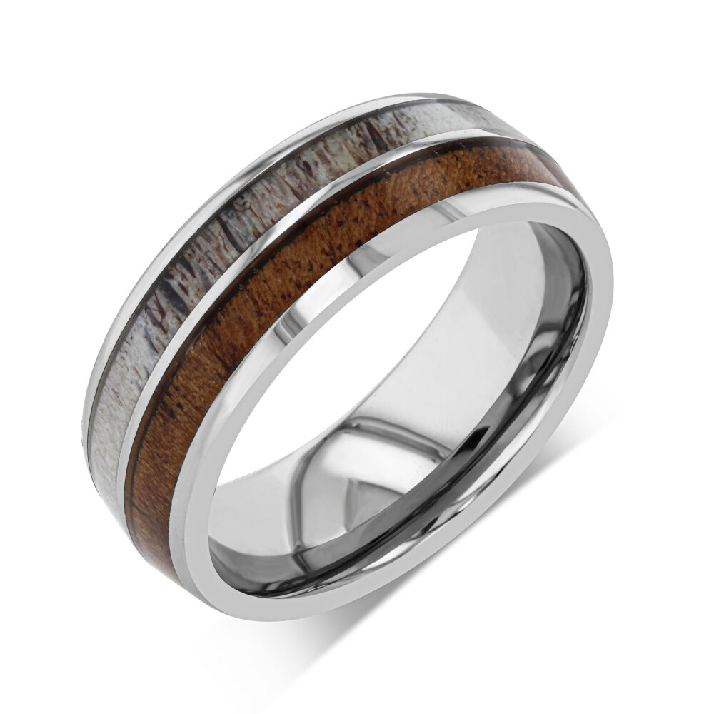Deer Antler Wedding Band Men & Women Ring Tungsten Hunter Mens Wood For Koa 8mm
