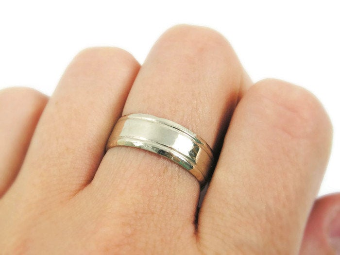 14K White Wedding Ring. Men Band. Unisex Unique Design White Gold Band, Ring | Gr-9325-665