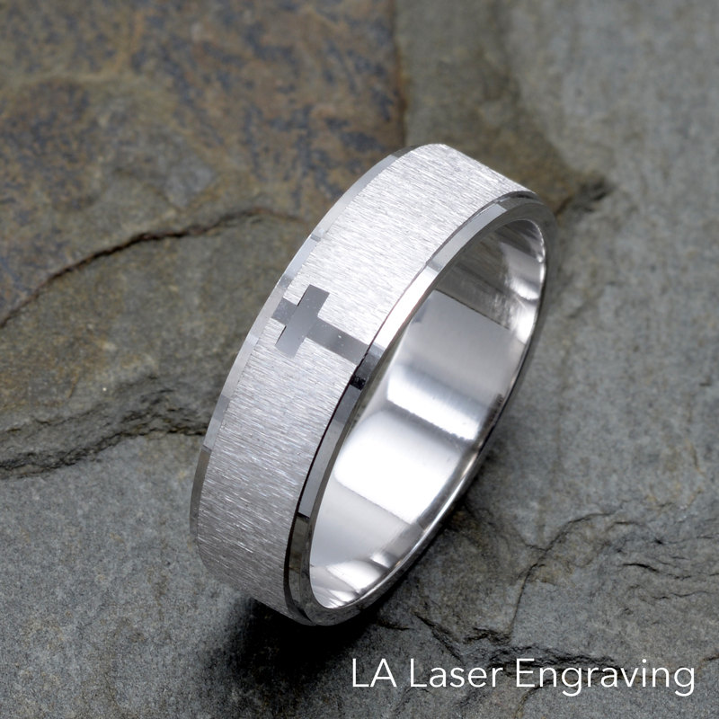 Brushed Wedding Band 14K White Gold Cross Ring Solid Bands Anniversary Ring Mens Gift Unisex Custom