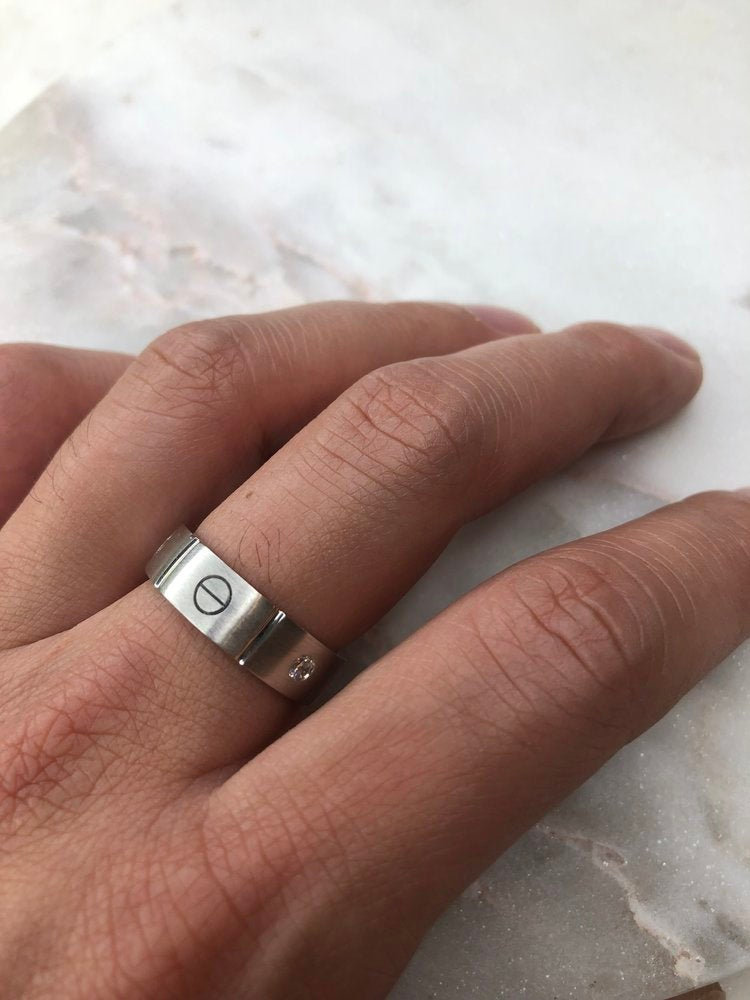 Diamond Ring Band, Mens Band 14K White Gold, Cartier Gold Ring 14K, Ring, Men's White Gold Cartier Ring, Diamond
