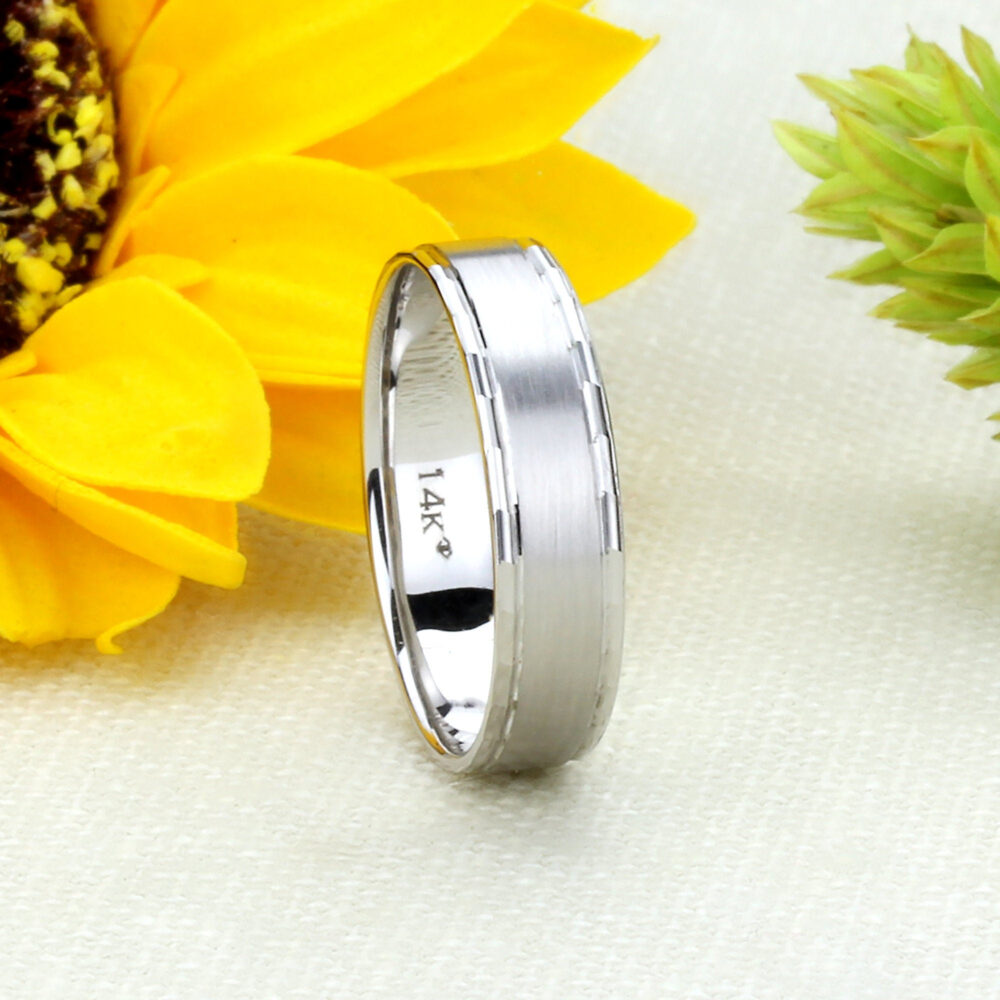Custom Engraving Men Women Solid 14K White Gold Wedding Ring 5mm Satin Finish Edged Band Engagement Ring(Dln579-204W