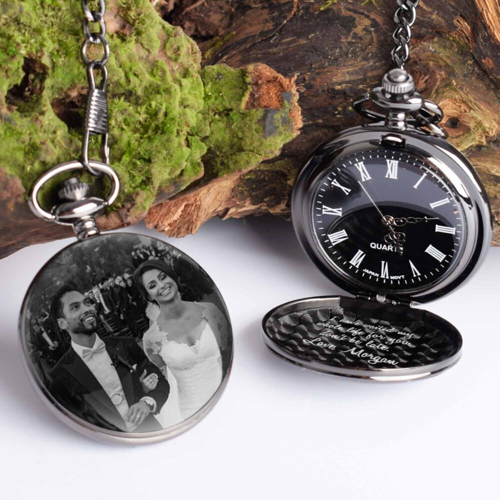 Pocket Watch Engraved With Photo Or Handwriting, Personalized Custom Gift Groom Favours Wedding For Groomsman