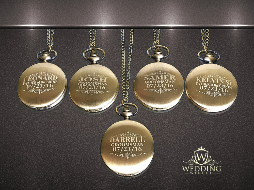 5 Personalized Pocket Watches - Groom Gift Groomsmen Couples Gifts -Wedding Set Best Man Of Honor