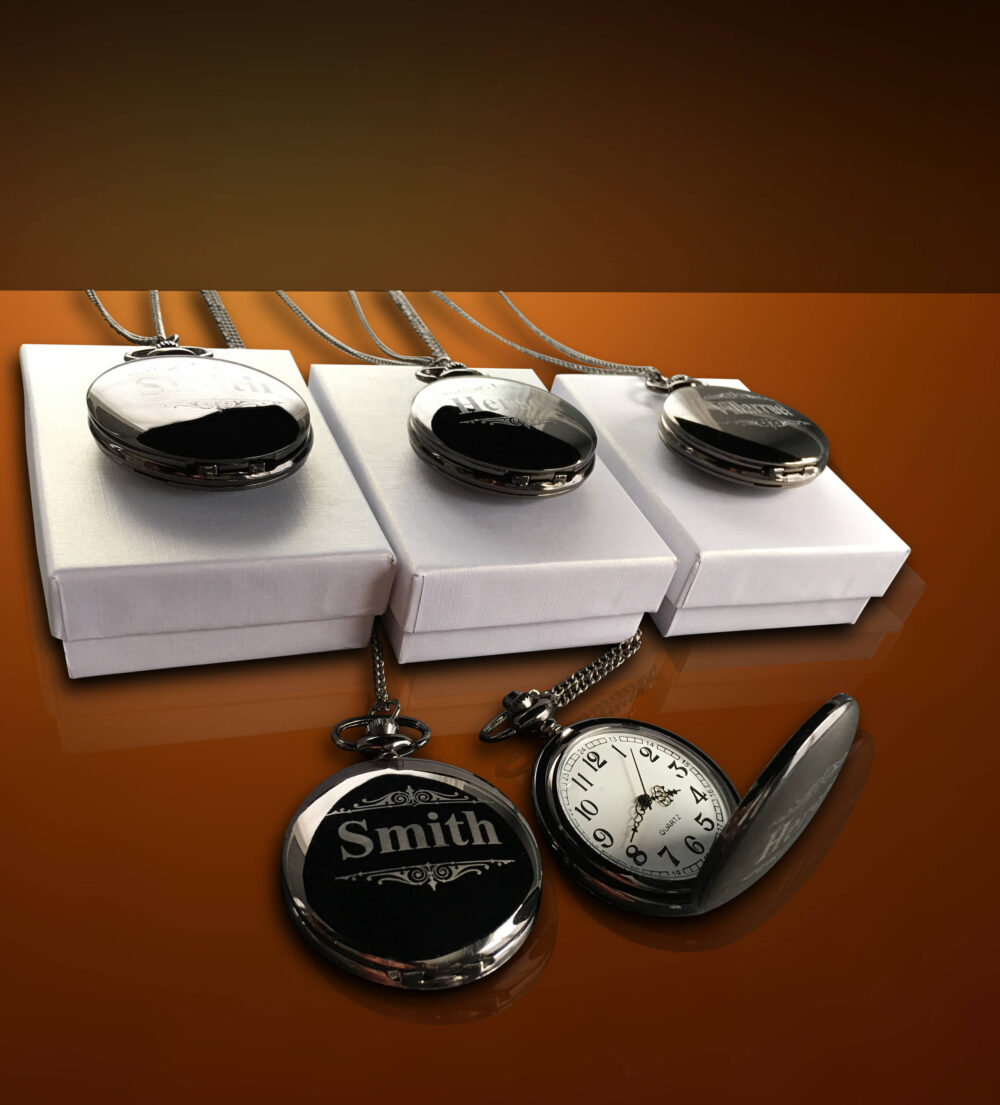 5 Personalized Pocket Watches - Groom Gift Groomsmen Couples Wedding Set Best Man Of Honor Gifts
