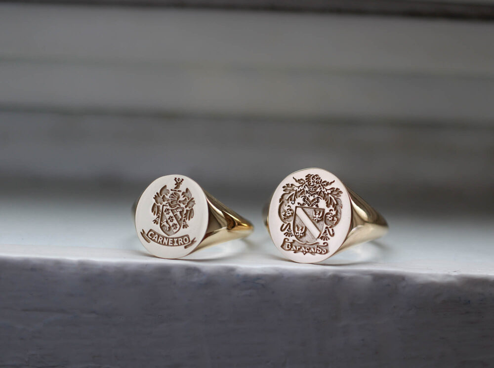 Engraved Gold Signet Ring, Family Rings, Coat Of Arms Crest Mens Ring