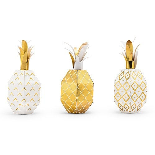 Small Pineapple Wedding Favor Boxes | Pack Of 12 Tropical Luau Party Ideas
