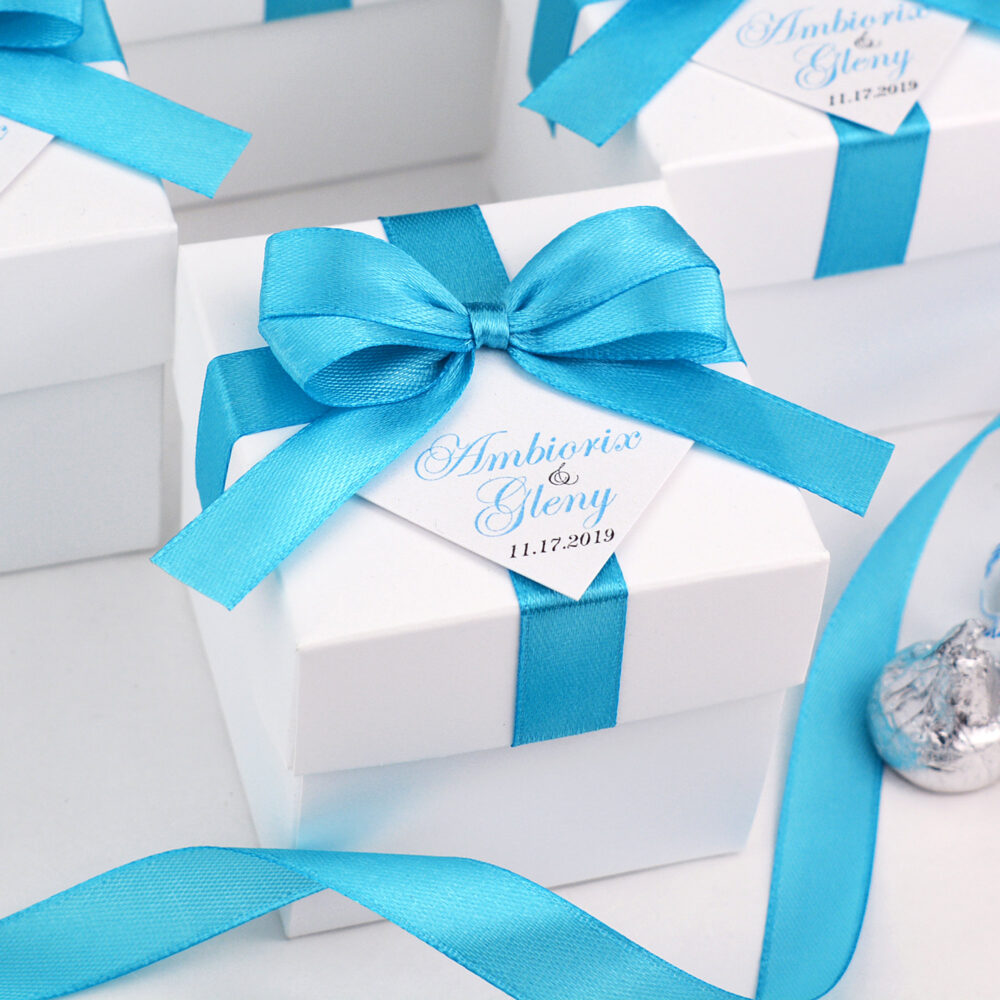 Wedding Favor Boxes With Light Blue Satin Ribbon Bow & Your Names, Elegant Turquoise Personalized Bonbonniere Candy Box For Guests