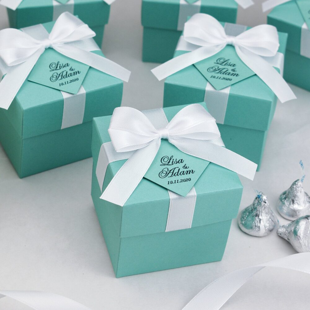 Wedding Favor Boxes With Satin Ribbon Bow & Your Names, Elegant Personalized Mint Bonbonniere, Breakfast At Tiffany Theme Favors