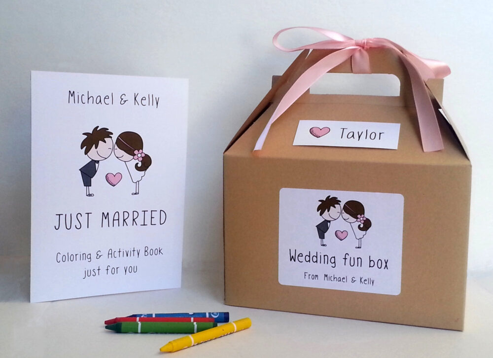 Wedding Coloring Book & Box/Kids Wedding Favor Boxes With Crayons