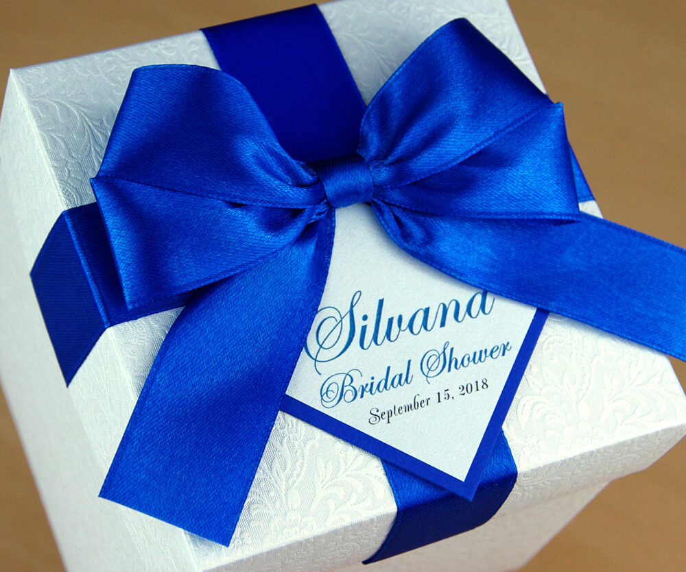 Bridal Shower Or Wedding Favor Boxes With Royal Blue Satin Ribbon, Bow & Custom Tag, Elegant Personalized Favor Box For Guests