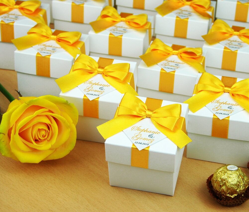 Elegant Wedding Bonbonniere, Yellow Personalized Wedding Favor Boxes With Satin Ribbon Bow & Custom Tag, Candy Box For Guests