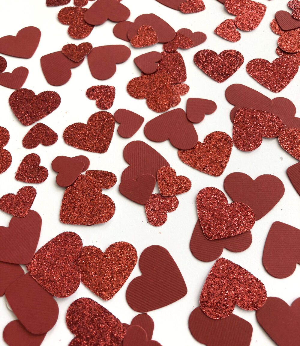 Valentine's Day Decorations - 200 Red Glitter Heart Confetti, Wedding Reception Decoration Table Scatter Confetti Bridal Shower Bachelorette