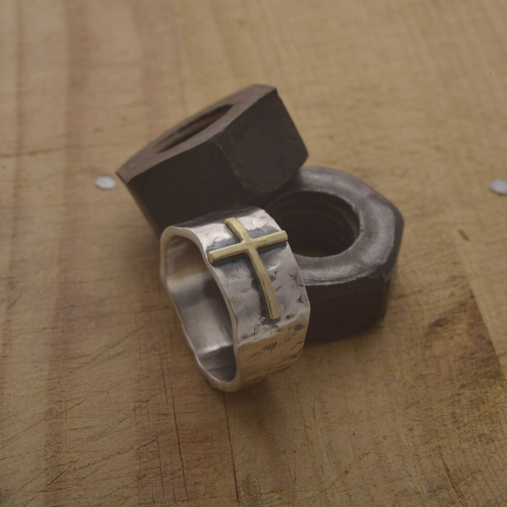 Mens Cross Ring, Hammered Sterling Silver & 14Kt Gold Band Gift Of Faith For Him, Ask Engraving On The Inside, Da113
