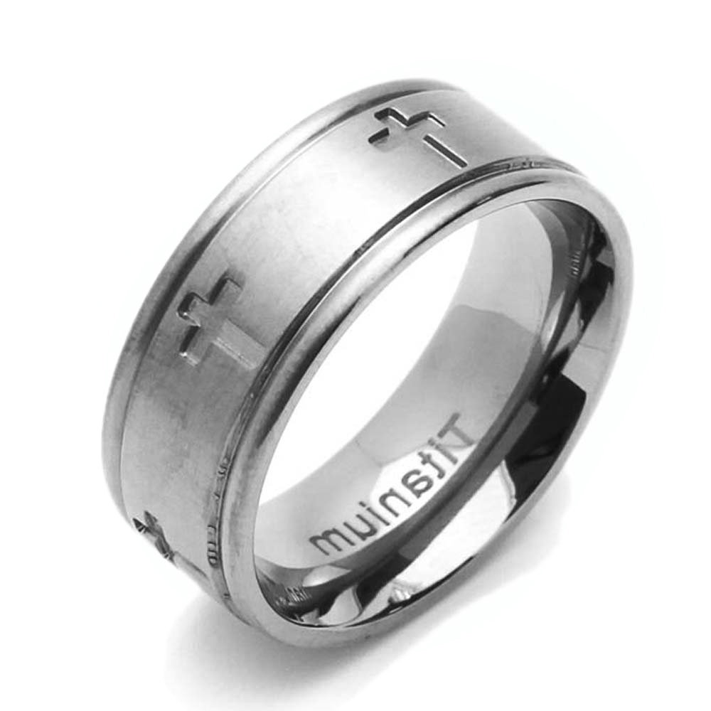 Custom Engraving Men Women 8mm Comfort Fit Titanium Wedding Band Cross Flat Ring(Ct161Rtt