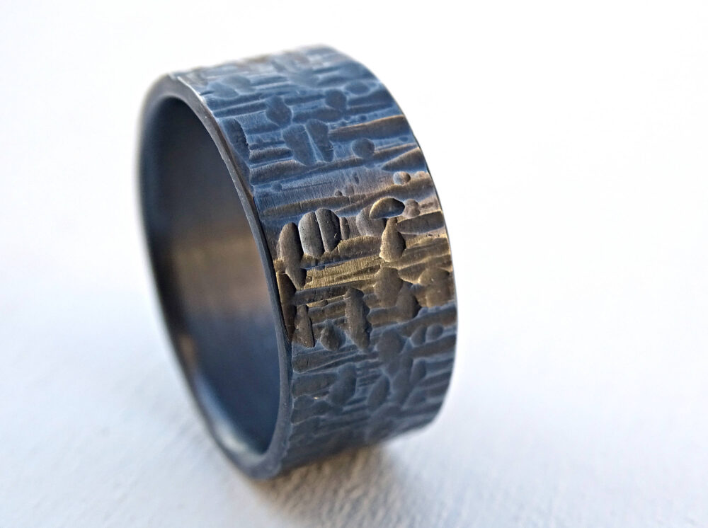 Cross Hammered Ring Black Silver, Mens Wedding Band Bold Silver Ring, Unique Promise Patterned