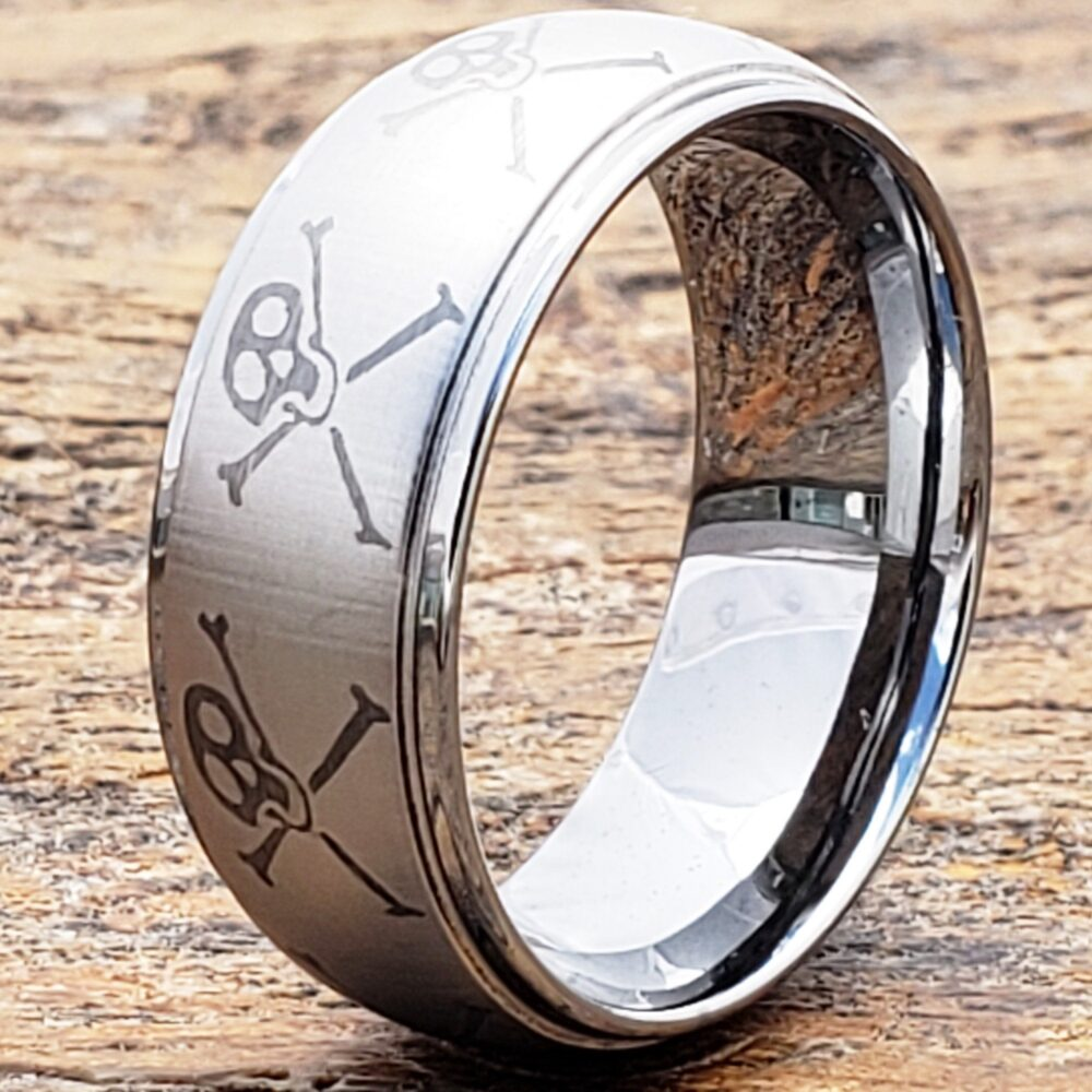 Biker Tungsten Ring, Skull & Bones Men's Band, Unique Cross Ring