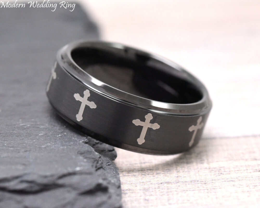 Cross Wedding Band Men, Mens Tungsten Band, Black 8mm Carbide, Multiple Engraved Ring, Ring