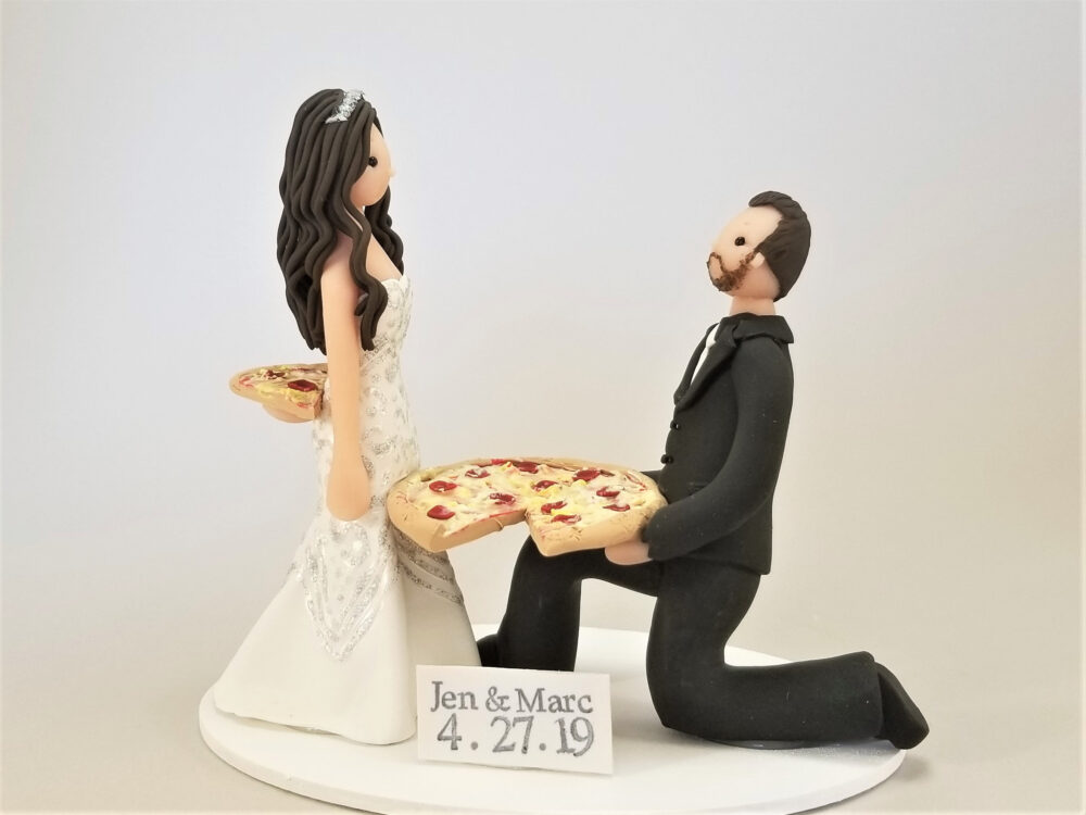 Bride & Pizza Delivery Groom Custom Cake Topper - By Mudcards