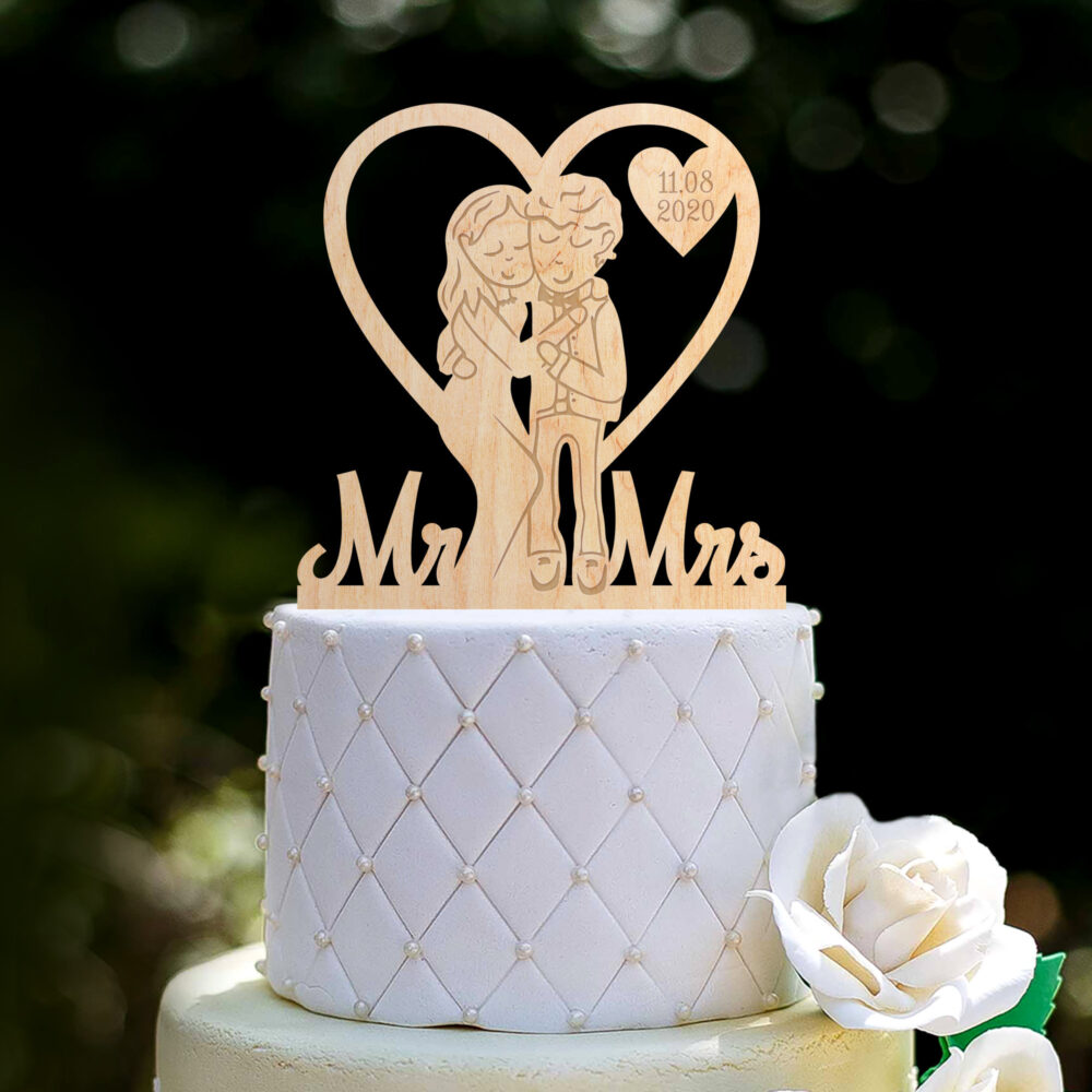 Custom Cartoon Wedding Bride Groom Fun Cake Topper Heart, Couple Mr Mrs Topper, Unique Family Hearts Topper, 0349