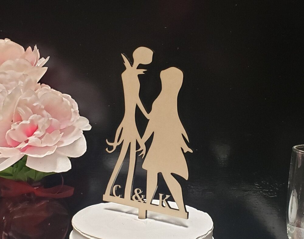 Jack & Sally Wedding Cake Topper, Nightmare Before Christmas Figurines, Bride Groom Custom Initials Topper For Wedding