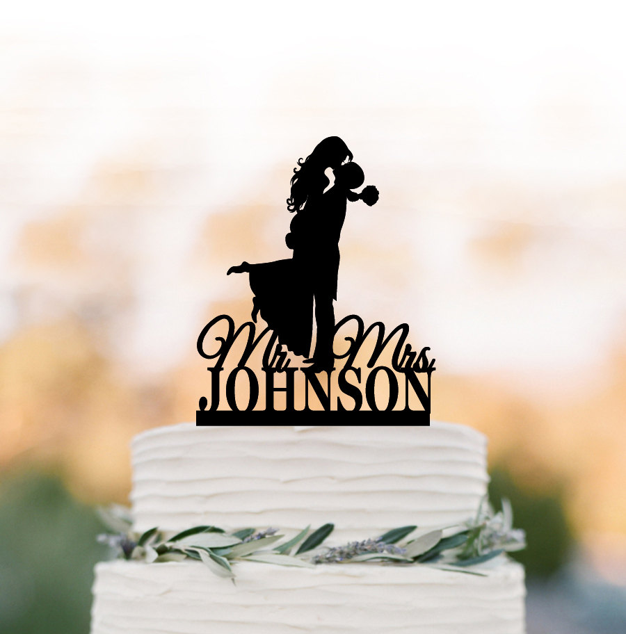 Personalized Wedding Cake Topper With Mr & Mrs, Bride Groom Silhouette Cake Topper, Unique Custom For Wedding Funny