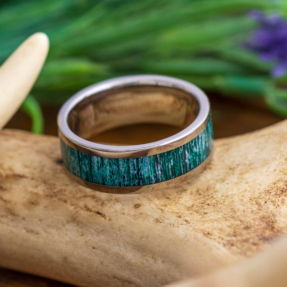 Green Antler Men's Wedding Band