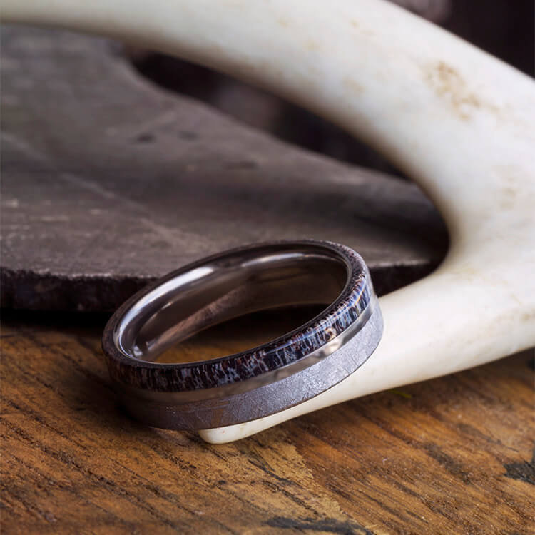 Meteorite & Antler Wedding Band With Titanium Pinstripe