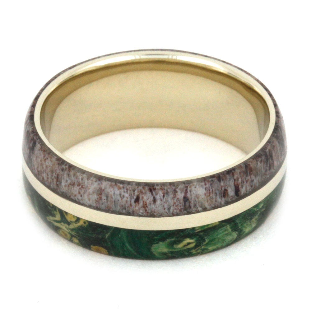 Green Wood & Antler Wedding Band in White Gold, 100+ Type Options