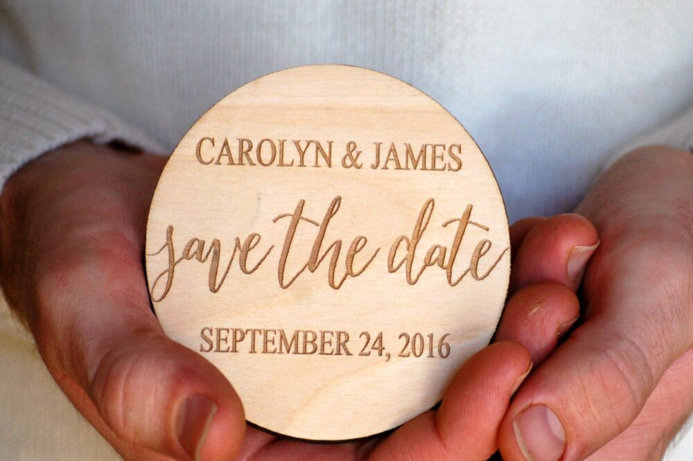 Save The Date Magnet Personalized Wedding Monogram Rustic Couples Name Favor Bride & Groom Bridal Shower Invites