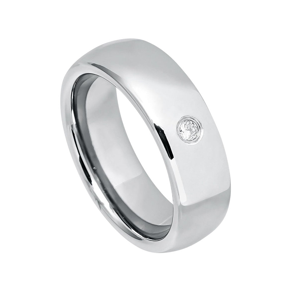 Mens Diamond Wedding Band Tungsten Ring Man 7mm Polished Engagement Carbide Classic Domed
