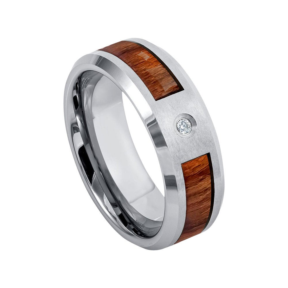 Mens Diamond Wedding Band Koa Wood Ring 8mm Engagement Man Tungsten Carbide Shiny Beveled Edges