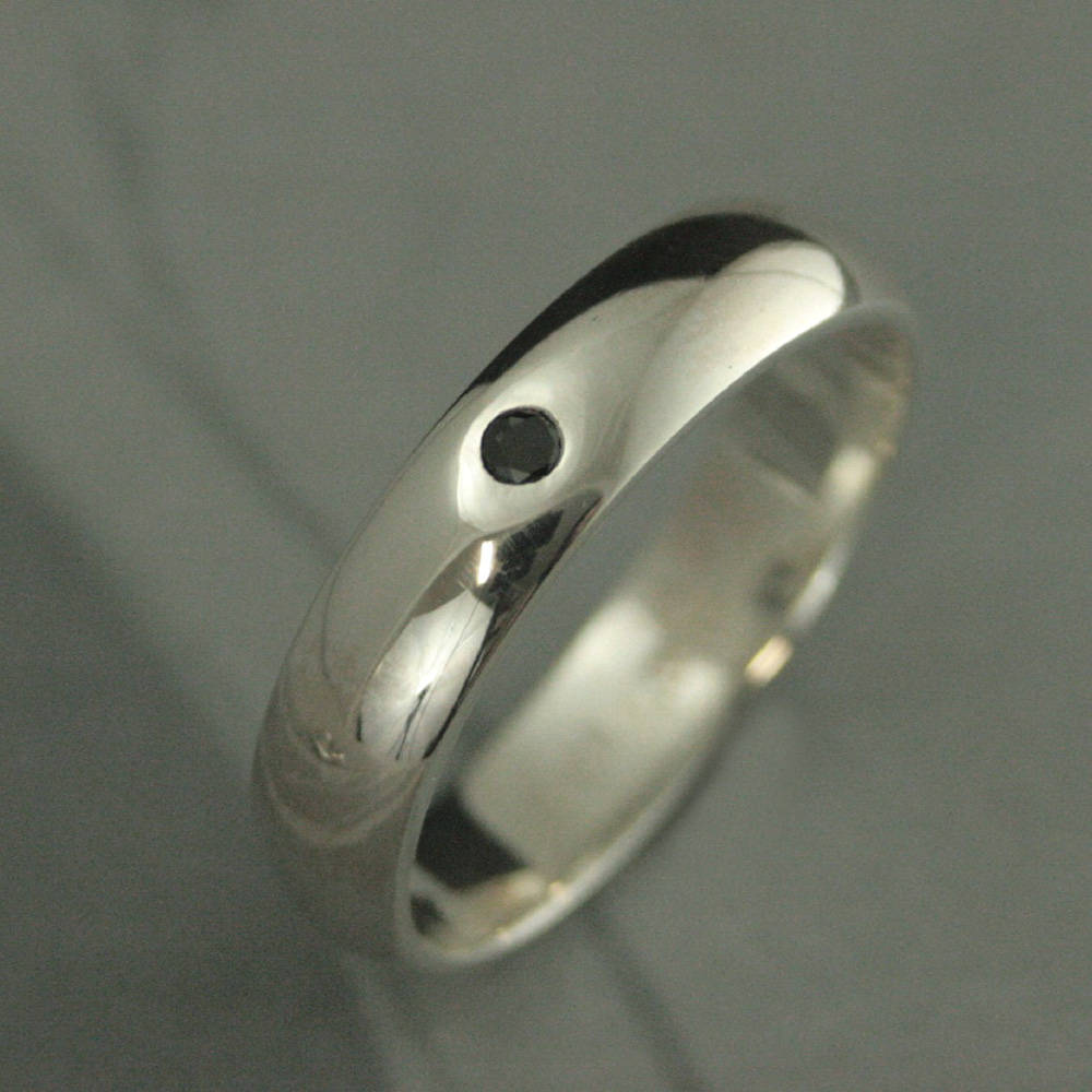 Black Diamond Ring Mens Wedding Band 5mm Wide Silver Stone Half Round