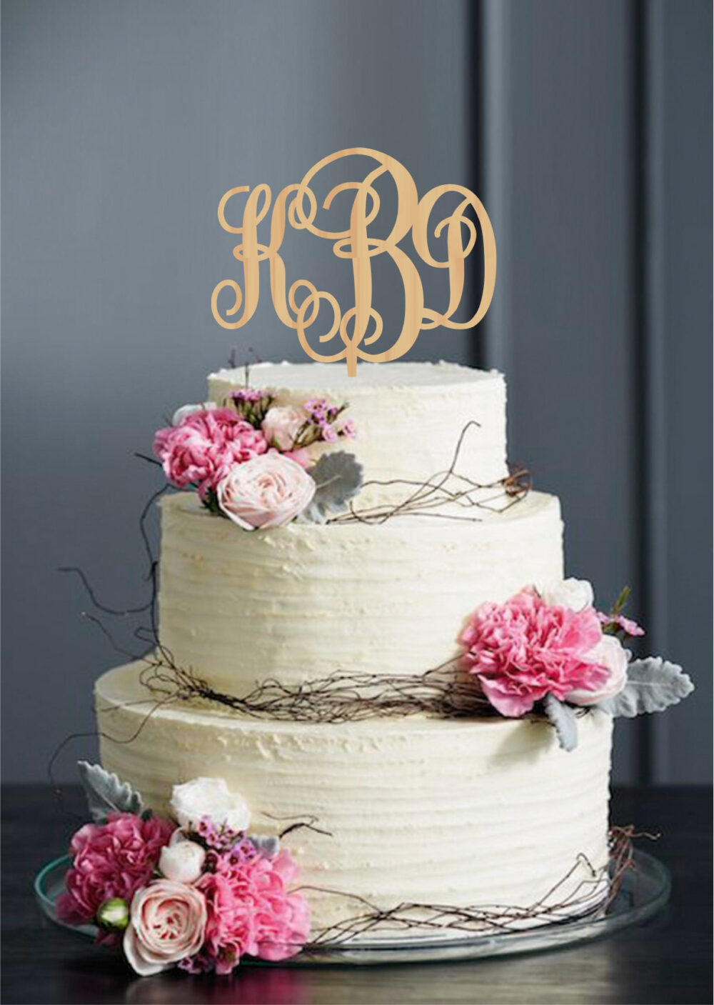 Wedding Monogram Cake Topper, Initial Toppers, Letter Monogram, Personalized Custom Gold