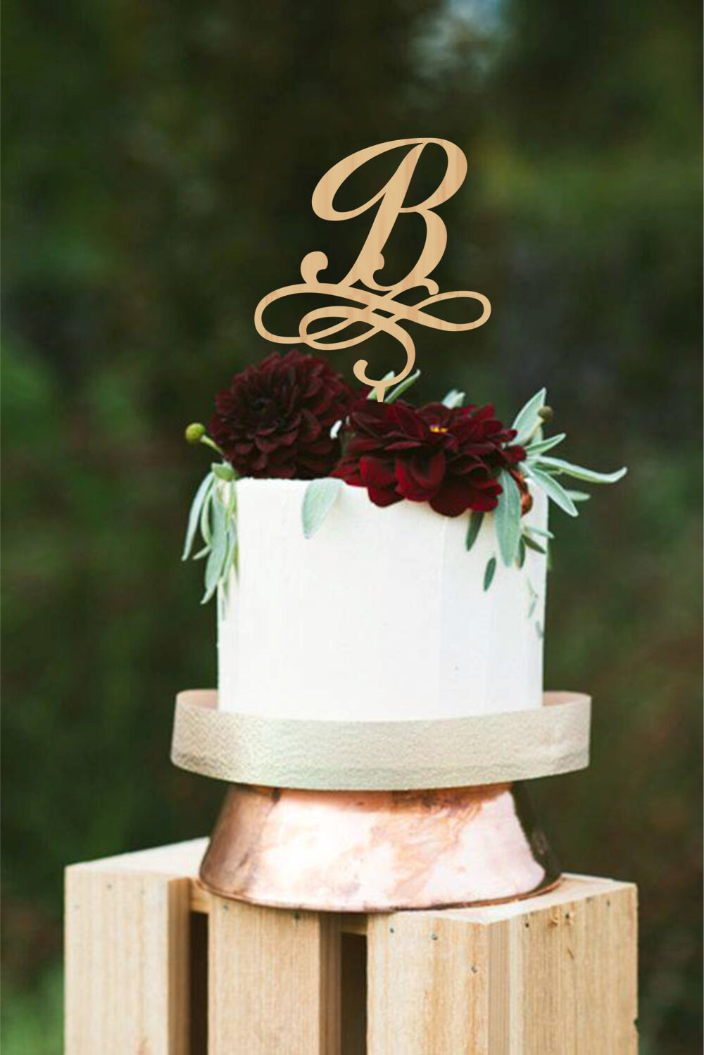Initial Wedding Cake Topper, B Letter Toppers For Wedding, Monogram Cake Topper, Rustic Topper