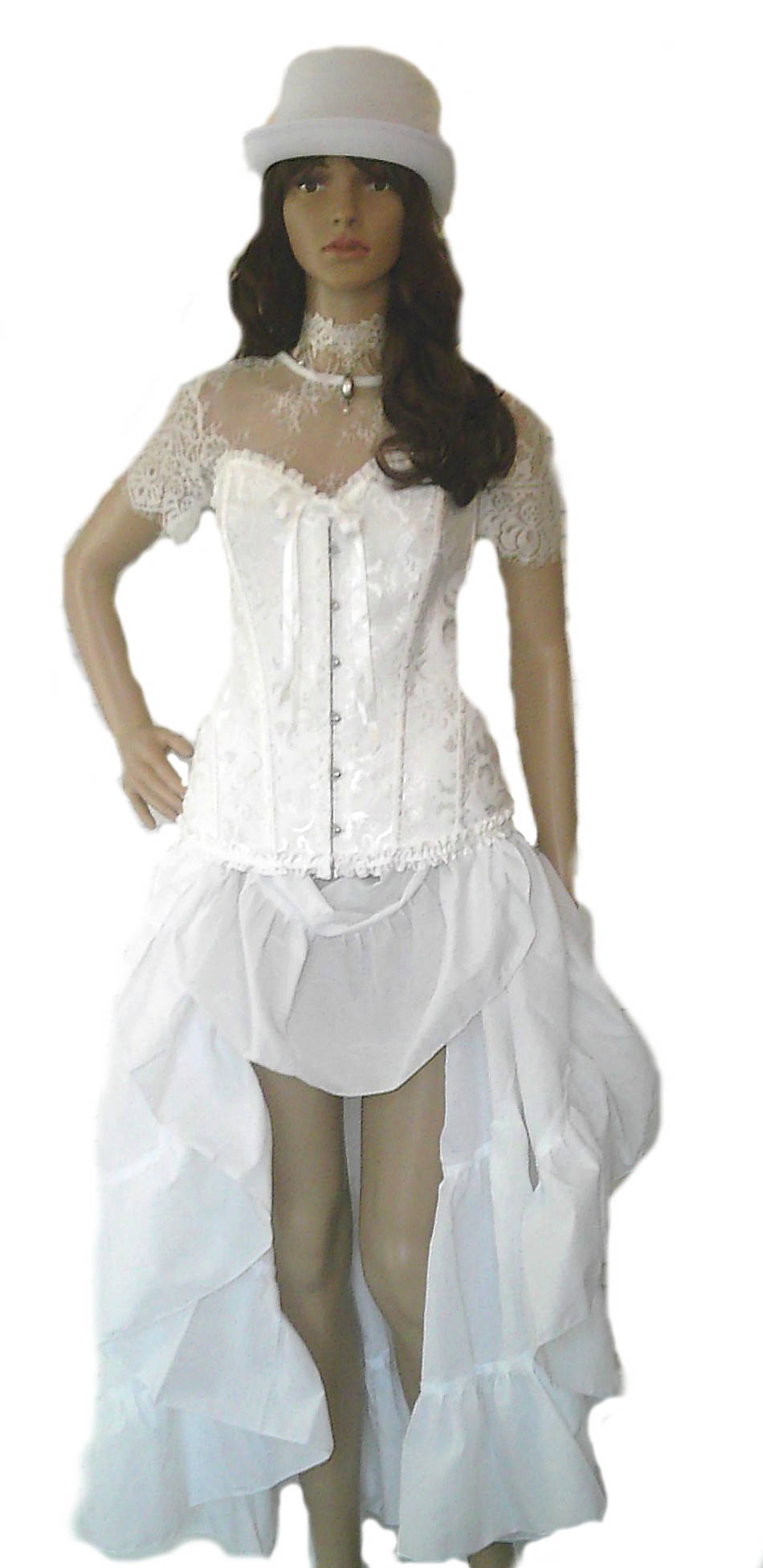 steampunk Blouse Lace Victorian Top White Wedding Renaissance Pirate Medieval Edwardian Wench