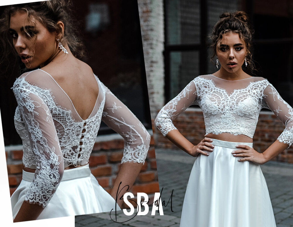 Rosaleen Off Shoulders Lace Top With Long Sleeves, Low Bridal Buttoned Back, Engagement Party Top, Sba