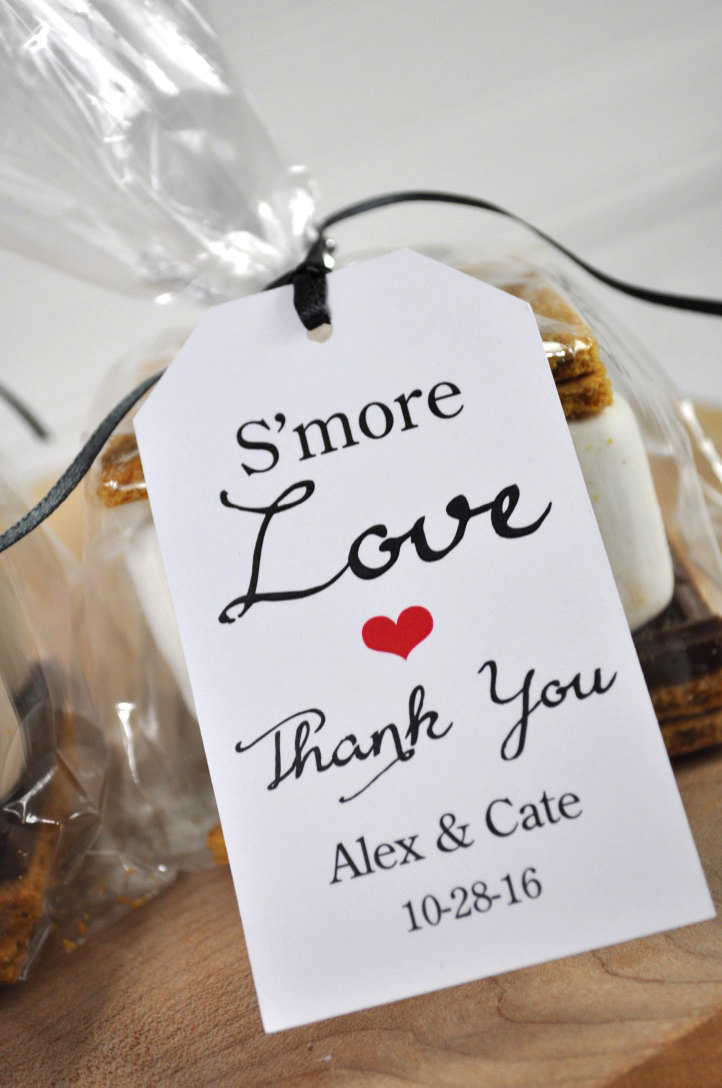 Wedding Favors, Smore Love Favor Tags, Bridal Shower Rustic Thank You Personalized Favors - Set Of 12