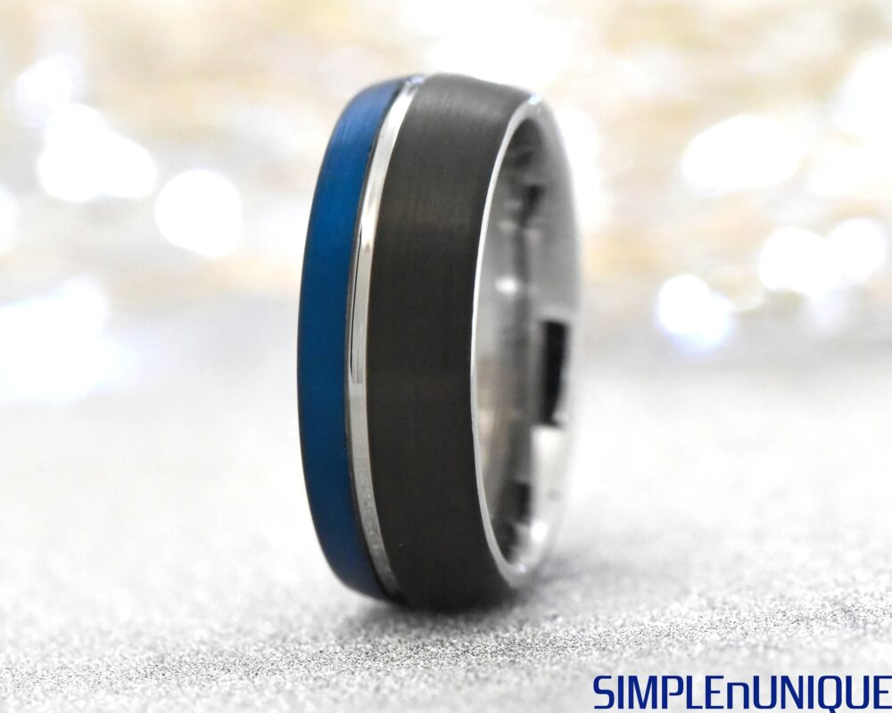 Black Blue Tungsten Ring, Man Wedding Band, Tungsten Carbide Ring, Engraved Promise Ring For Him, Tungsten Band Man, Tri Colored