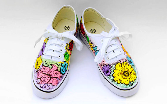 Custom Wedding Vans Floral Hand Painted Bridal Sneakers Personalized Shoes For Bride Flowers Pastel