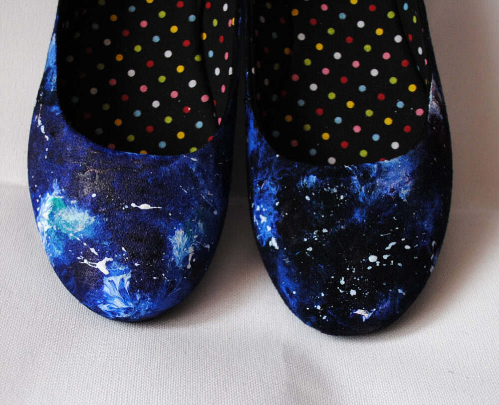 Hand Painted Galaxy Ballerinas, Shoes, Blue Flats, Something Bride Shoes. Prom Space Shoes