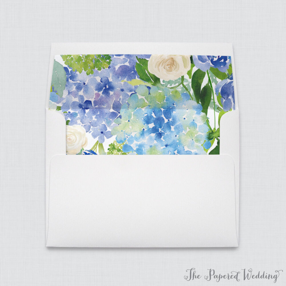 Blue Hydrangea Wedding Envelope Liners - A7 Envelopes With & White Flowers Liners, Floral 0022