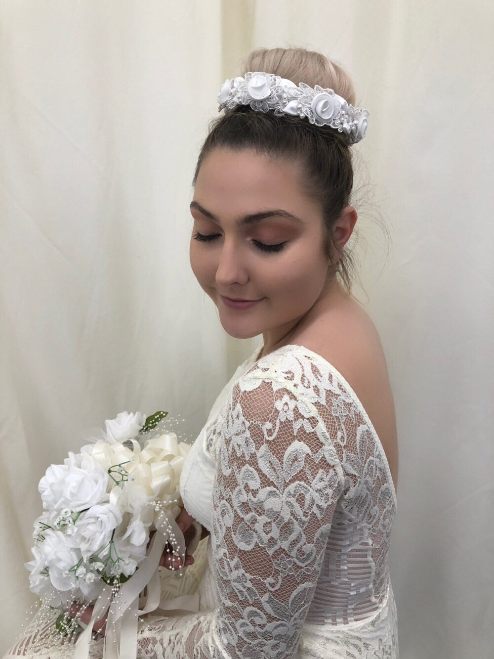 Satin & Tulle Rosette Halo, Wreath, Bridal Tiara With Lace Featured Appliques, Detailed Pearls Leaves Wedding Headpiece