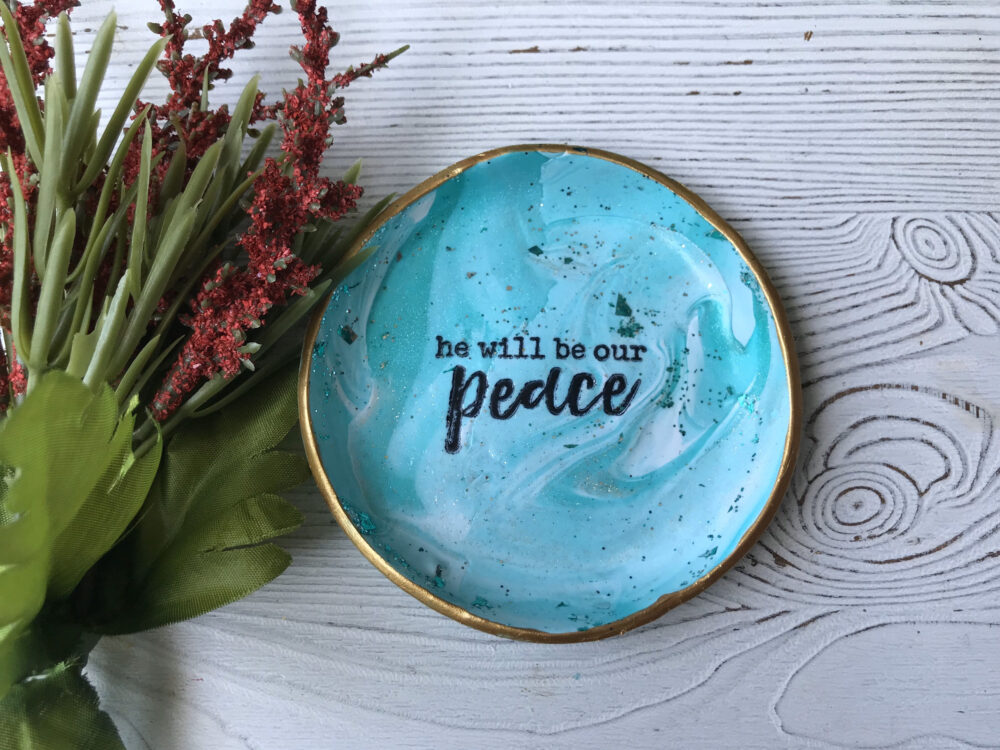 Christian Ring Dish, Inspirational Trinket Coin Tray, Peacock, Polymer Clay, Gifts For Her, Her