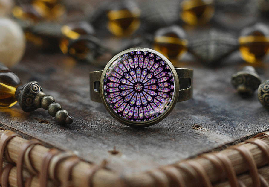 Stained Glass Notre Dame De Paris Ring, Rose Window Gothic Style Catholic Christian Ring