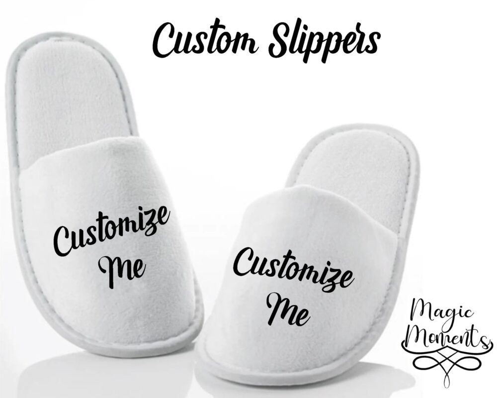 Customized Spa Slippers House Wear Close Toe White Bride Bridesmaid Gift For Her Wedding