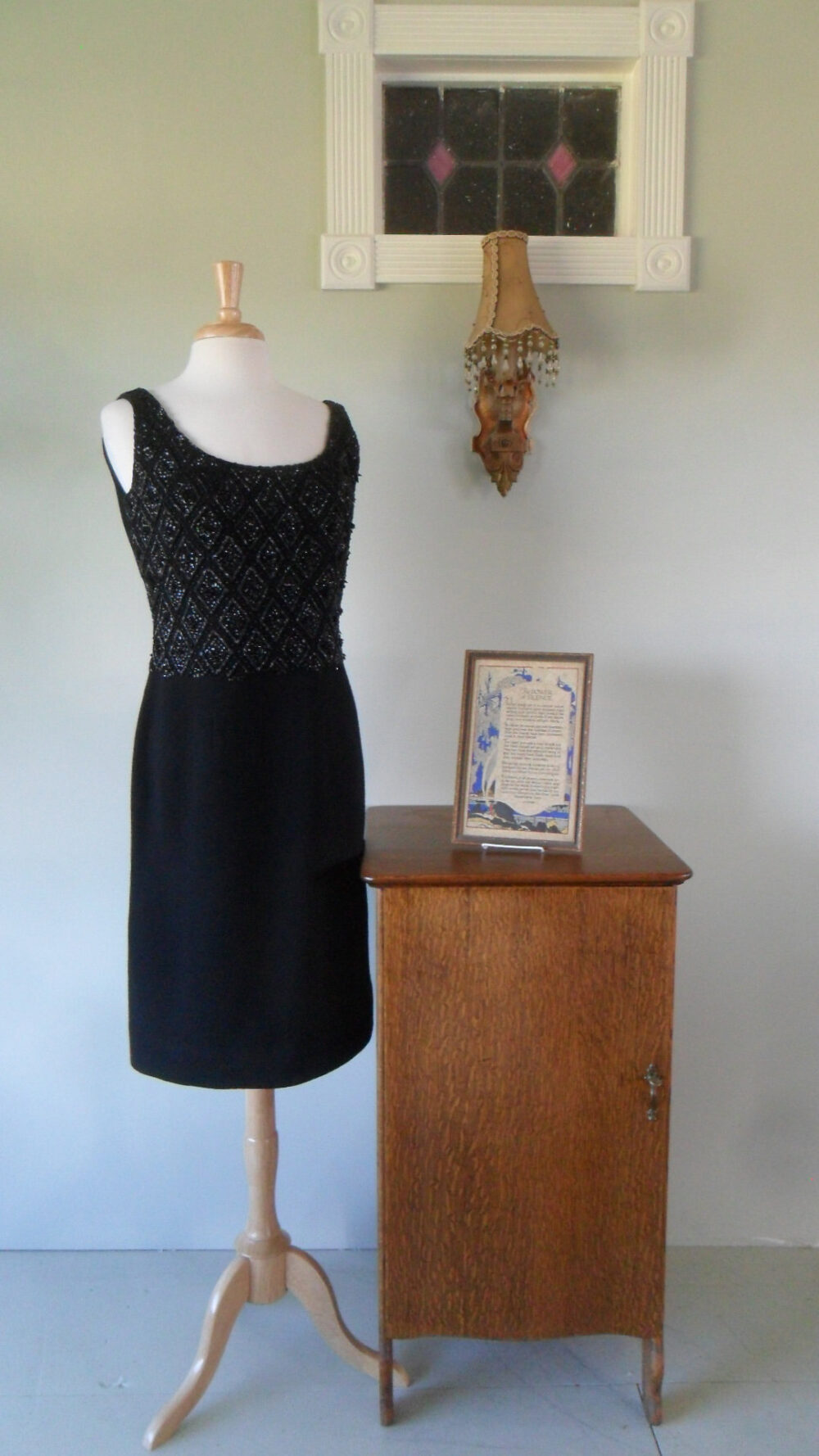 1960S Little Black Cocktail Dress | Sequined & Beaded Front Bodice, Double Knit Wool, Tailored in Hong Kong