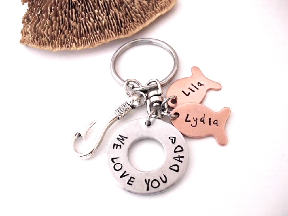 Keychain For Dad, Fish Keychain, Father's Day Gift, Dad Papa We Love You Daddy Gift
