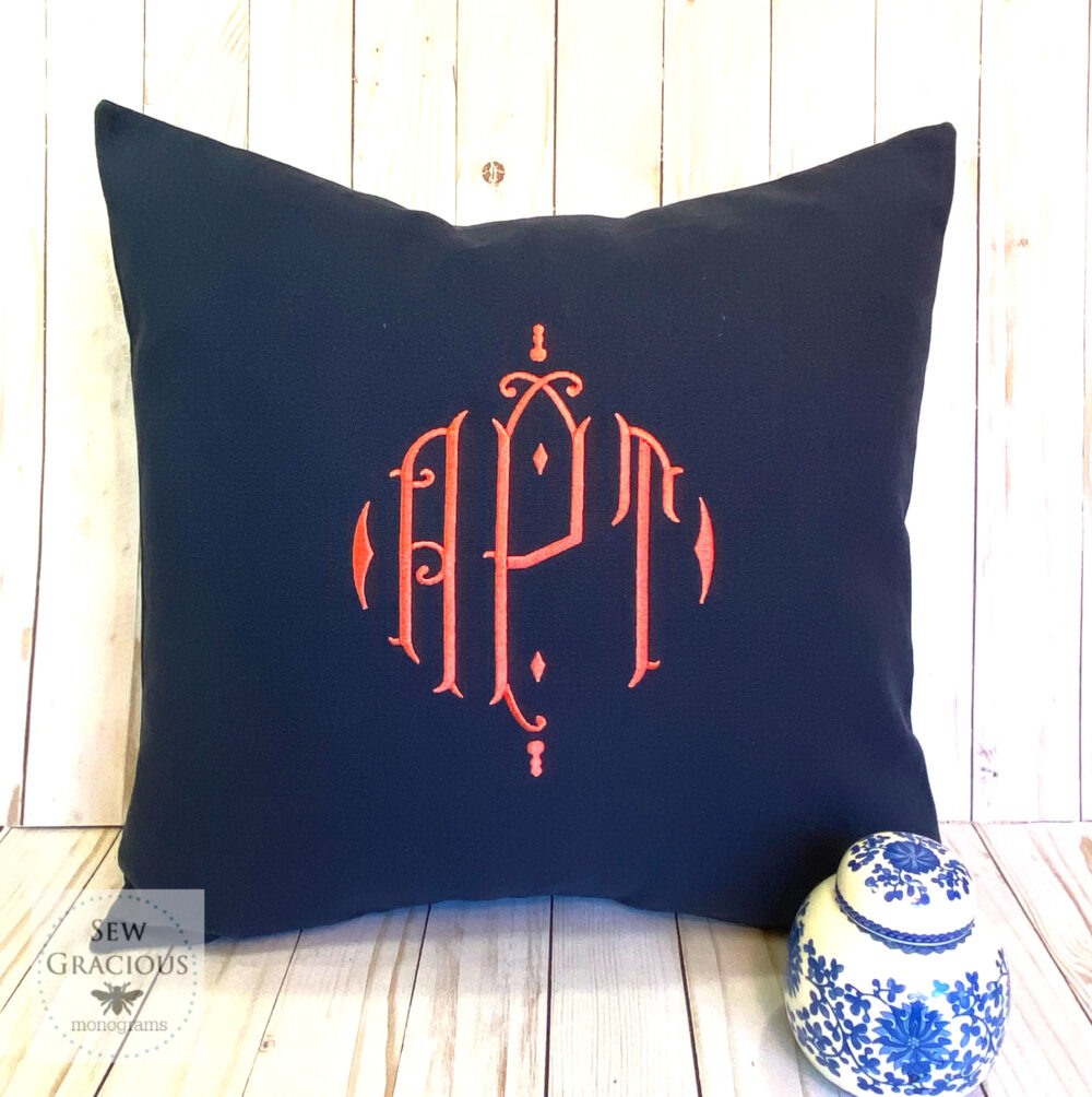 Monogram Pillow Cover, Personalized Wedding Gift, Custom Baby Dorm Decor, Royal Diamond Font